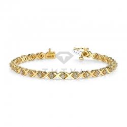 Дизайнерский браслет из желтого золота с муассанитами