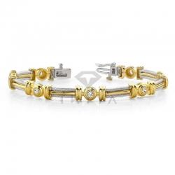 Винтажный золотой браслет с бриллиантами из золота двух цветов