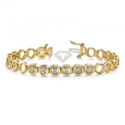 Дизайнерский браслет с муассанитами из желтого золота