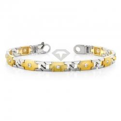 Мужской браслет из золота двух цветов с муассанитами