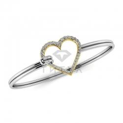 Жесткий браслет Сердце из золота двух цветов с бриллиантами