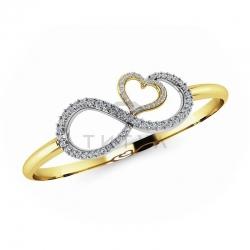 Жесткий браслет Бесконечность из желтого золота с бриллиантами