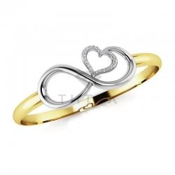 Жесткий браслет Бесконечность из золота двух цветов с бриллиантами