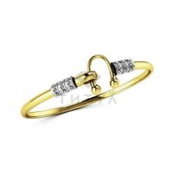 Жесткий браслет из золота двух цветов с бриллиантами