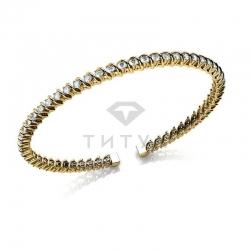 Жесткий браслет из желтого золота с бриллиантами