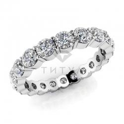 Обручальное кольцо из белого золота с муассанитами