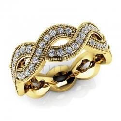 Модное винтажное кольцо с бриллиантами из желтого золота