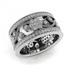 Модное винтажное кольцо с цветами  с бриллиантами из белого золота