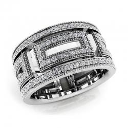 Модное винтажное кольцо с бриллиантами из белого золота