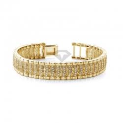 Мужской браслет из желтого золота с бриллиантами