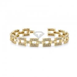 Мужской браслет из желтого золота с муассанитами