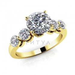 Помолвочное кольцо из желтого золота с бриллиантами