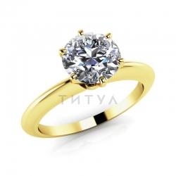 Помолвочное кольцо из желтого золота с большим бриллиантом