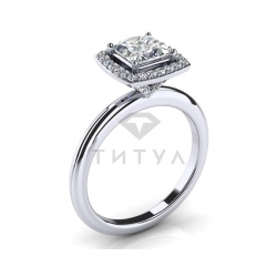 Помолвочное кольцо из белого золота с муассанитами