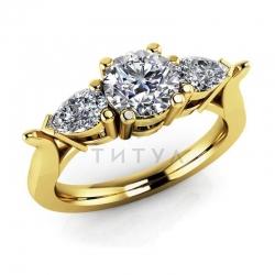 Кольцо из желтого золота с муассанитами