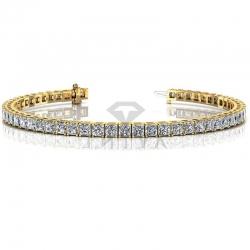 Золотой теннисный браслет с квадратными бриллиантами