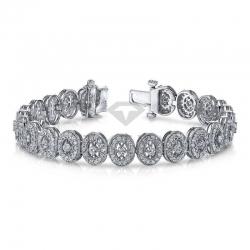 Винтажный браслет из белого золота с бриллиантами