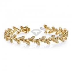 Винтажный браслет в виде листьев из желтого золота с бриллиантами