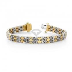 Винтажный браслет с бриллиантами из золота двух цветов