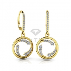 Висячие серьги из желтого золота с бриллиантами