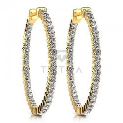 Серьги Конго из желтого золота с бриллиантами