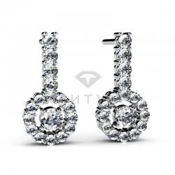 Висячие серьги из белого золота с бриллиантами