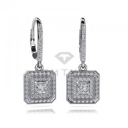 Длинные винтажные серьги из белого золота с бриллиантами