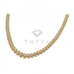 Винтажное ожерелье из желтого золота с бриллиантами