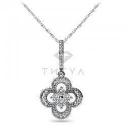 Длинная подвеска в виде цветка с бриллиантами из белого золота