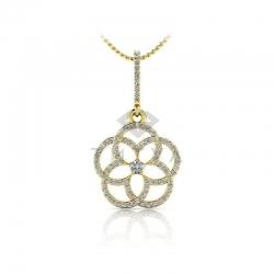 Длинная подвеска в виде цветка с бриллиантами из желтого золота