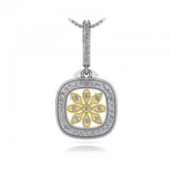 Длинная подвеска Цветок с бриллиантами из золота двух цветов