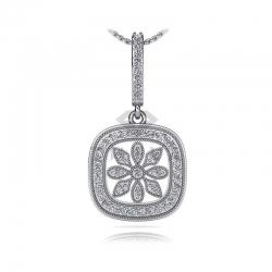 Длинная подвеска Цветок с бриллиантами из белого золота