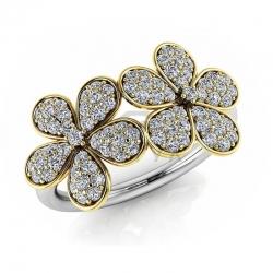 Модное кольцо с цветами с бриллиантами из белого золота
