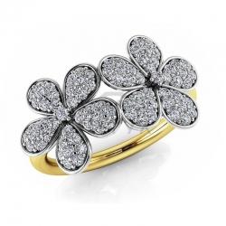 Модное кольцо с цветами с бриллиантами из желтого золота