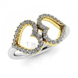 Модное кольцо в виде двух сердец с бриллиантами из белого золота