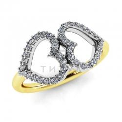 Модное кольцо Два сердца с бриллиантами из желтого золота