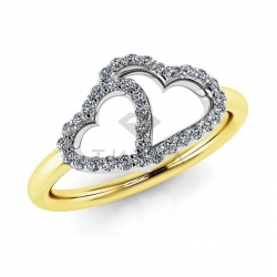 Модное кольцо в виде двух сердец с бриллиантами из желтого золота