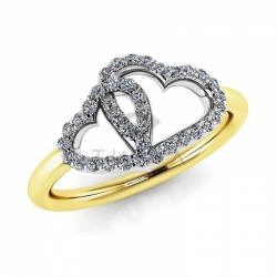 Модное кольцо с бриллиантами в виде двух сердец из желтого золота