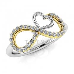 Модное кольцо Бесконечность с бриллиантами из белого золота