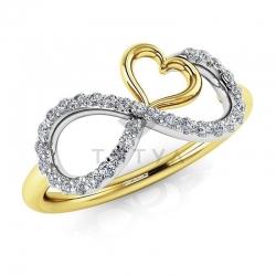 Модное кольцо Бесконечность с бриллиантами из желтого золота