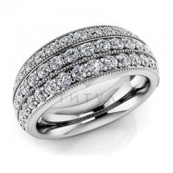 Обручальное винтажное кольцо из белого золота с муассанитами