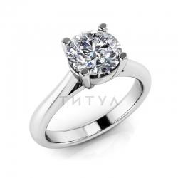 Помолвочное кольцо из белого золота с большим бриллиантом