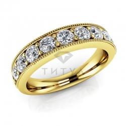 Обручальное винтажное кольцо из желтого золота с муассанитами