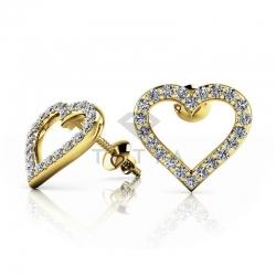 Серьги гвоздики в виде сердца из желтого золота с муассанитами