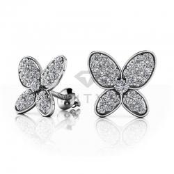 Серьги Бабочки гвоздики из белого золота с  муассанитами