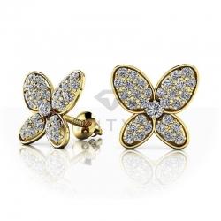Серьги гвоздики Бабочки из желтого золота с муассанитами