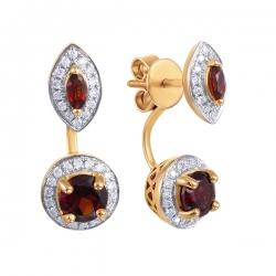 Серьги из розового золота 585 пробы с бриллиантами и гранатами