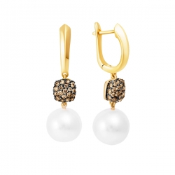 Серьги из золота 585 пробы с бриллиантами и культивированными жемчугами