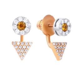 Серьги из розового золота 585 пробы и белого золота 585 пробы с сапфирами и бриллиантами