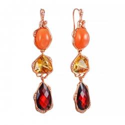 Серьги из розового золота 585 пробы с цветными полудрагоценными камнями и бриллиантами